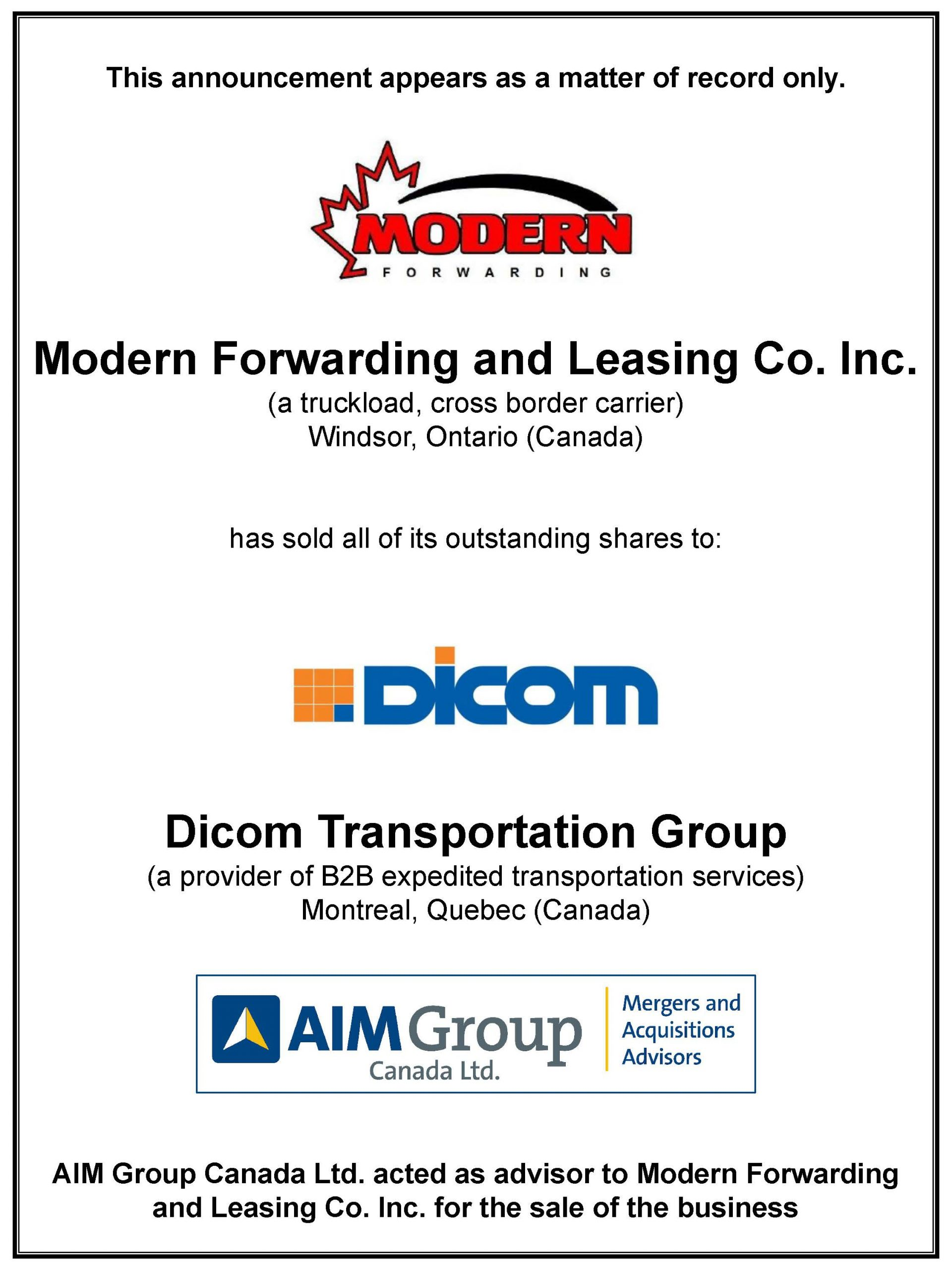 Modern Forwarding and Leasing Co. Inc.